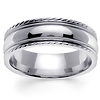 7mm Carved Edge Milgrain 14K White Gold Wedding Band