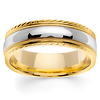 7mm Carved Edge 14K Two Tone Gold  Milgrain Wedding Ring