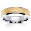 6mm Beveled Edge Textured 14K Two Tone Gold Wedding Ring