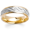 Weave-Carved Milgrain 14K Two Tone Gold Wedding Band 6mm
