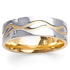 7mm Wave Design 14K Two Tone Gold Wedding Band