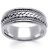 8mm Hand-Woven Rope & Braided Men's Wedding Band - 14K White Gold