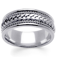 8mm Hand Woven Rope Braided Mens Wedding Band