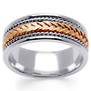 8mm Hand-Woven Rope Rose Braided Men's Wedding Band - 14K Two-Tone Gold