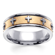 7mm 14k two tone gold cross christian wedding ring - Christian Wedding Rings
