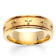 7mm 14K Yellow Gold Raised Cross Christian Wedding Band