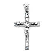 Crucifix pendants gold silver for men women goldenmine large trinity cz crucifix pendant in 14k white gold aloadofball Image collections