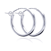 Polished Hinge Small Hoop Earrings - Sterling Silver 2mm x 0.7 inch