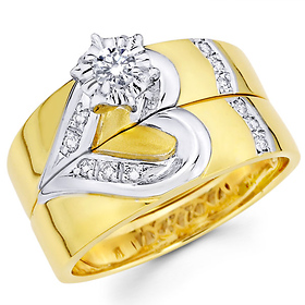Curve Design 14K Two Tone Wedding Band Engagement Ring Set at