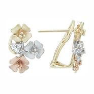 14k Tri-color Huggies Hanging Earrings, 65mm x 6mm