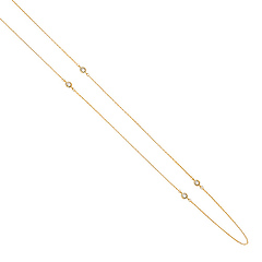 14k Yellow Gold 3mm CZ Bazel by the Yard Necklace - 17'+1'