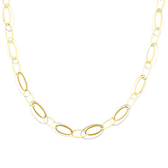 14K Two-Tone Gold Light Fashion Link Necklace with Lobster Claw Clasp