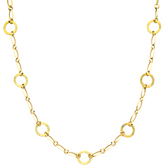 17mm Women's Round 14K Yellow Gold Link Necklace with Lobster Clasp