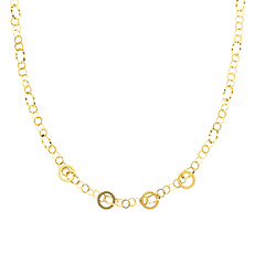 Greek Key 18mm 14K Yellow Gold Link Necklace for Women