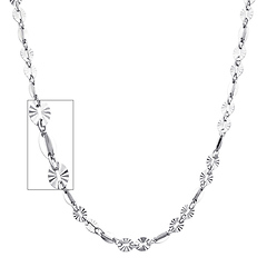 3.5mm Women's Designer Diamond-Cut Round 14K White Gold Link Necklace