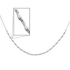 Fancy 3mm 14K White Gold Link Necklace for Women