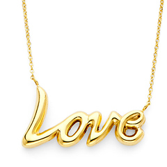 Floating Love Charm Hollow Necklace in 14K Yellow Gold