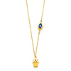 Hollow Hamsa and Floating Evil Eye Necklace in 14K Yellow Gold 17in thumb 1