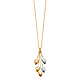 Ovate Leaves Tassel Charm Necklace in 14K Tricolor Gold thumb 1