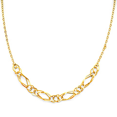 14K Yellow Gold 12mm Figaroesque Link Necklace - Women