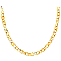8mm 14K Yellow Gold Diamond-Cut Triple Oval Link Necklace - Women
