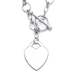 Heart Charm 14K White Gold Hollow Rolo Link Necklace - 18in 10.5g