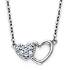 Mother Child Double Heart CZ Pendant in 14K White Gold thumb 0