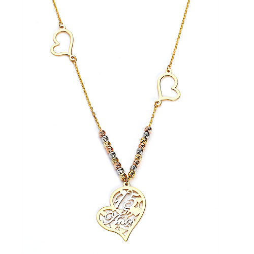 9cc65e8bd Floating Hearts  15 Anos  Quinceanera Charm Necklace in 14K Tricolor Gold