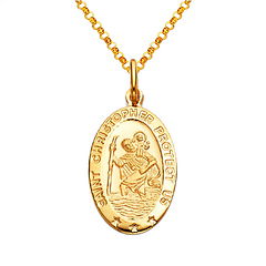 St. Christopher Oval Medal Necklace with Diamond-Cut Chain - 14K Yellow Gold (16-24in)