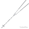 5mm Moon-Cut Bead Miraculous Medal Rosary Necklace in Sterling Silver with Budded Crucifix 26in thumb 3