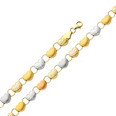 Stampato Heart Diamond-Cut 14K Tri-Color Gold Bracelet 7mm