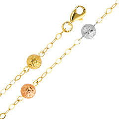 Fancy Designer Ball Tri-Color 14K Gold  Bracelet