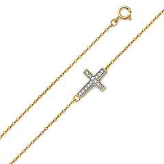 Dazzling CZ Filled Sideways Cross Bracelet in 14K Two Tone Gold 7in