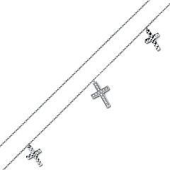 Dangling Faceted CZ 3 Cross Charms 14K White Gold Bracelet 7in