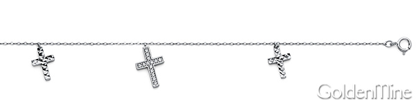 Dangling Faceted CZ 3 Cross Charms 14K White Gold Bracelet 7in Slide 1