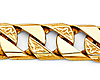 Men's 10mm 14K Yellow Gold Carved Square Cuban Link Chain Bracelet 8.5in thumb 1