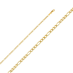 2.5mm 14K Gold Yellow Pave Figaro Chain