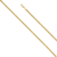 3.5mm 14k Yellow Gold Hollow Miami Cuban Chain Bracelet 7.5in