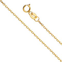 1.2mm 14K Yellow Gold Angled Cut Oval Rolo Chain Necklace 16-22in