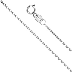 1.2mm 14K White Gold Angled Cut Oval Rolo Chain Necklace 16-22in