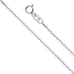 0.9mm 14K White Gold Angled Cut Oval Rolo Chain Necklace 16-22in
