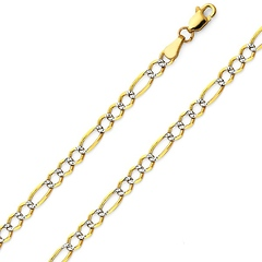 4mm 14K Two Tone Gold White Pave Open Figaro Chain Necklace 16-24in