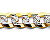 8mm 14K Two Tone Gold Men's White Pave Curb Cuban Link Chain Necklace 20-26in thumb 1