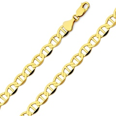 6.5mm 14K Yellow Gold Men's Flat Mariner Chain Necklace 20-26in