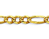 4.5mm 14K Gold Yellow Pave Figaro Link Chain Bracelet 7.5in thumb 1