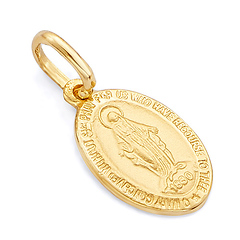 Virgin Mary Miraculous Medal Pendant in 14K Yellow Gold - Mini