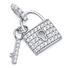 Micropave CZ-Filled Lock & Key Pendant in 14K White Gold - Petite thumb 0