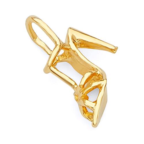 14k Yellow Gold Solid Stiletto High Heel Open Toe Shoe Charm Pendant 1.7 grams