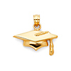 Graduation Cap Charm Pendant in 14K Yellow Gold - Mini thumb 0