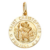Saint Christopher Round Medal Pendant in 14K Yellow Gold 20mm thumb 1